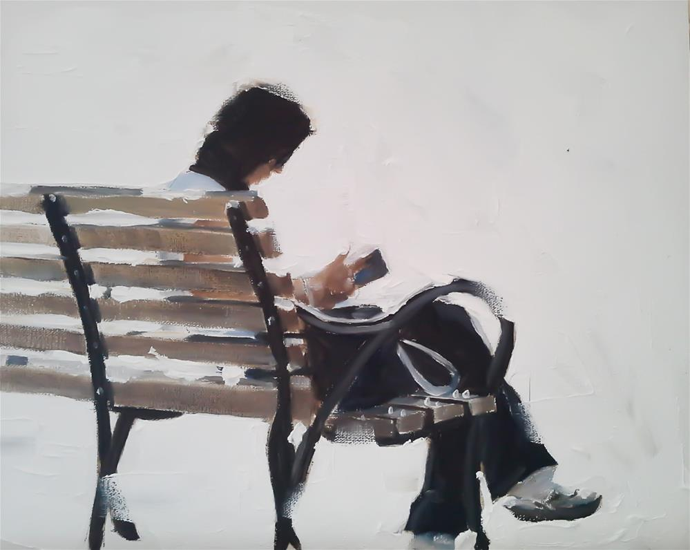 """""""Woman on a Bench"""" original fine art by James Coates"""