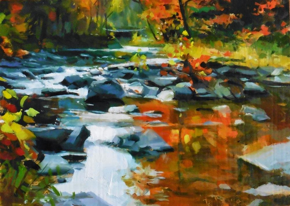 """Autumn creek"" original fine art by Víctor Tristante"
