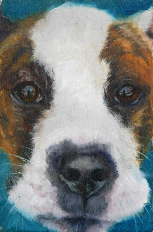 """Barista Dog"" original fine art by Clair Hartmann"