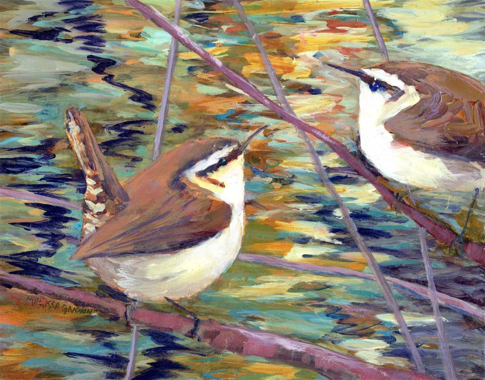 """""""Two Wrens by the River"""" original fine art by Melissa Gannon"""