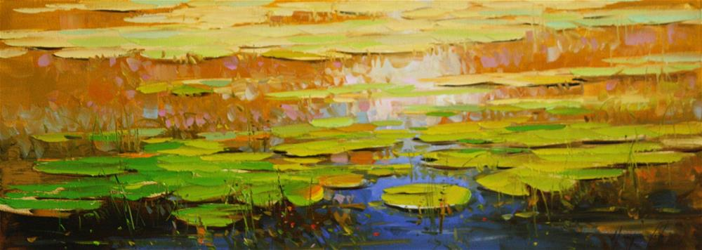 """""""WATERLILIES OIL PAINTING ON CANVAS ONE OF A KIND"""" original fine art by V Y"""