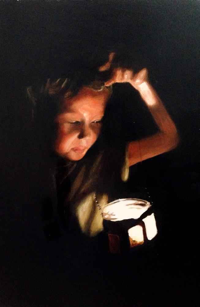 """Giurl with Lantern"" original fine art by James Coates"