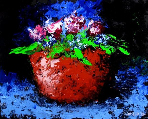"""Mark Adam Webster - Palette Knife Flowers Still Life Oil Painting"" original fine art by Mark Webster"