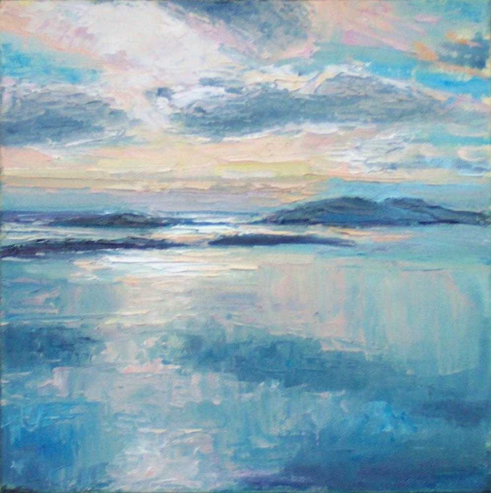 """""""EVENING VIEW FROM BLANCHARD Mt.,seascape,oil on canvas,8x8,price$300"""" original fine art by Joy Olney"""