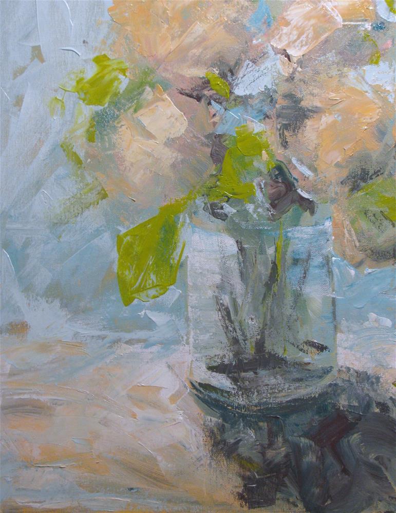 """Still Life in Peach and Baby Blue"" original fine art by Susan Elizabeth Jones"