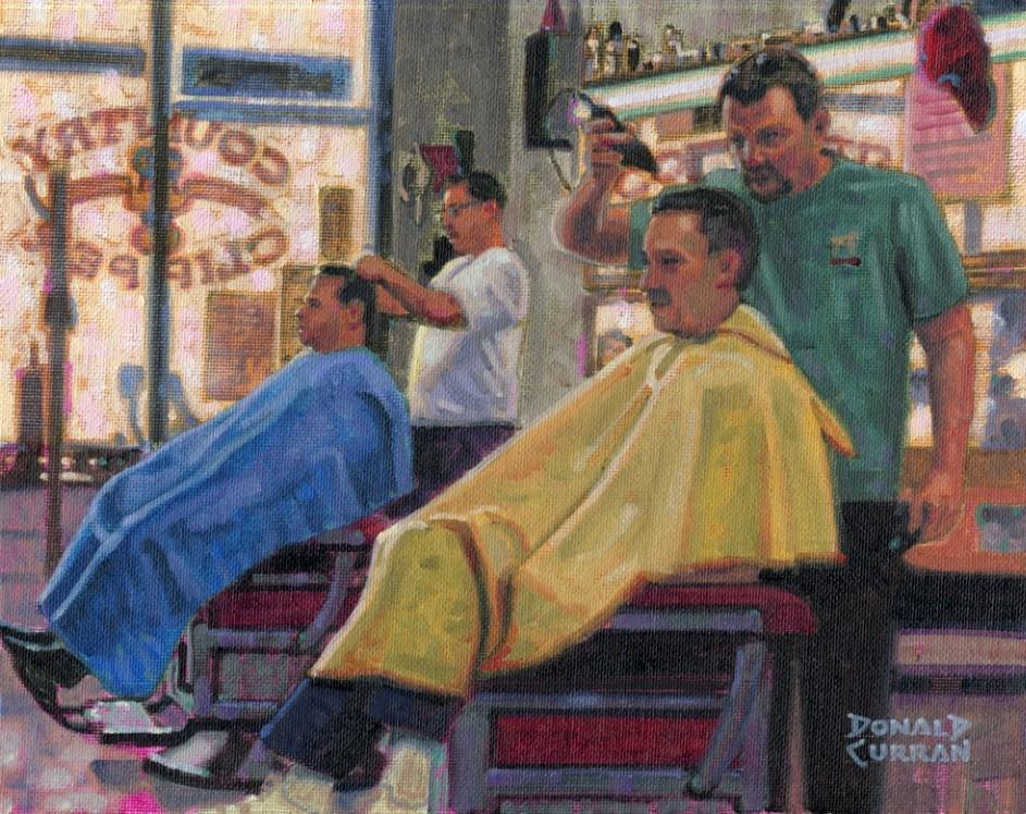 """""""Getting a Trim"""" original fine art by Donald Curran"""