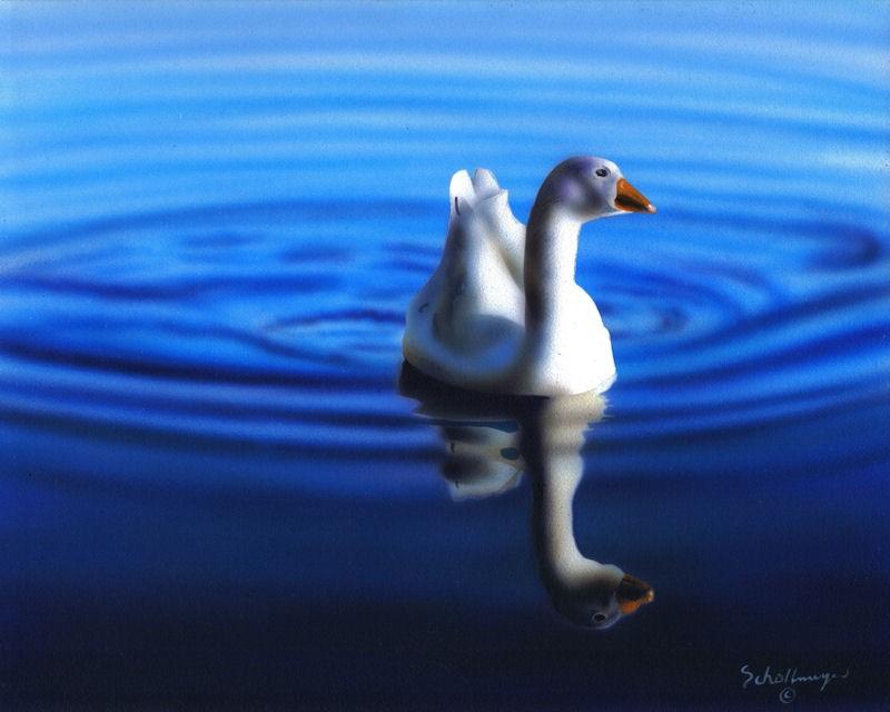 """Peaceful Swim"" original fine art by Fred Schollmeyer"