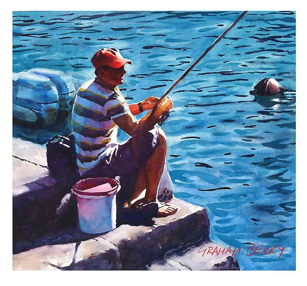 """Fisherman in red cap."" original fine art by Graham Berry"