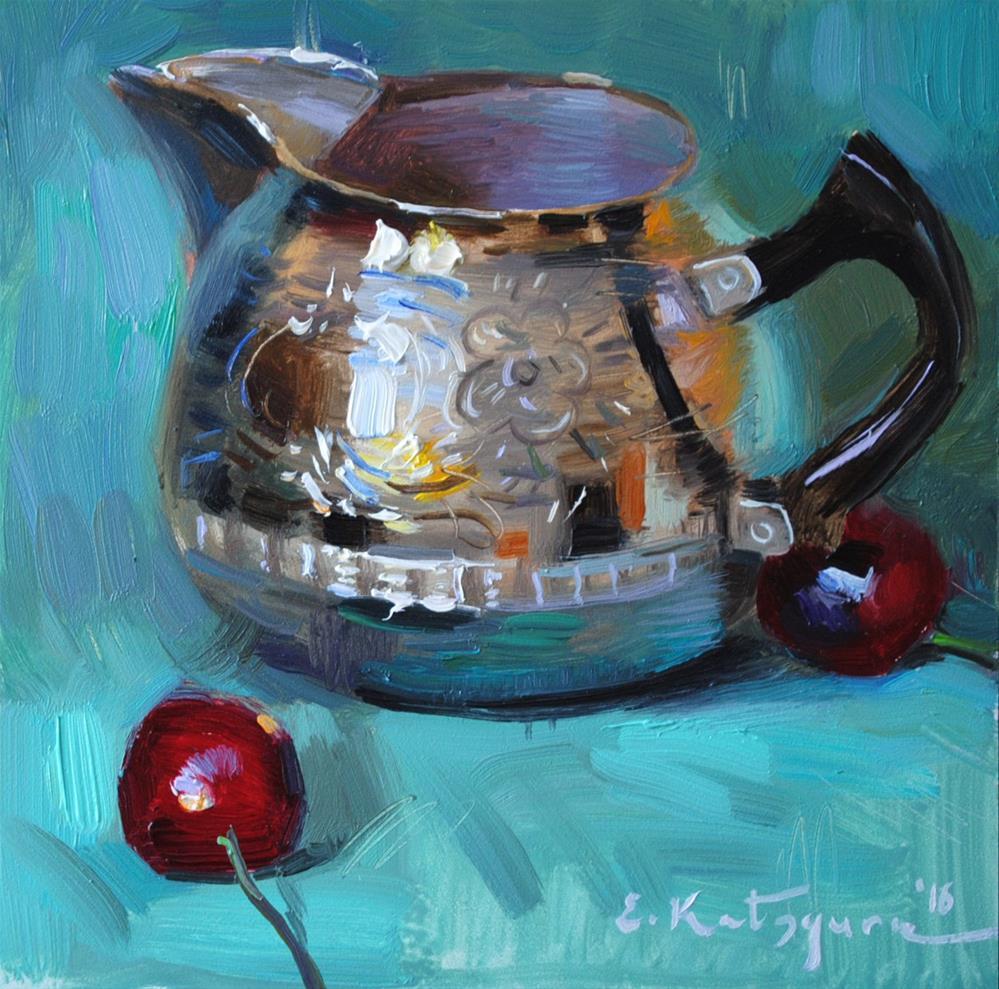 """Silver and Cherries"" original fine art by Elena Katsyura"