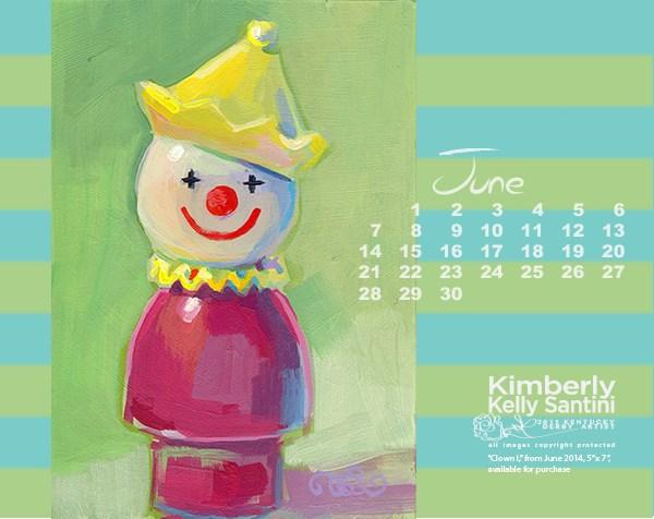 """June 2015 Desktop Calendar"" original fine art by Kimberly Santini"