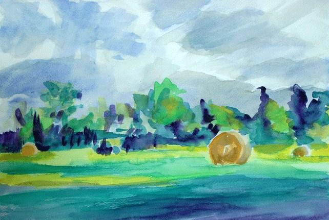 """North Texas Bales"" original fine art by Donna Crosby"