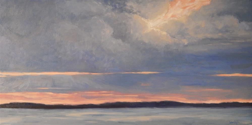 """""""Sunset on the Water"""" original fine art by Lisa Kyle"""