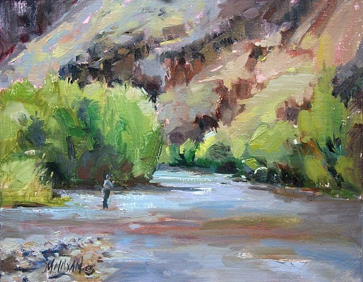 """""""Fall Fishing II - more flyfishing and  color on the Grand Ronde river"""" original fine art by Mary Maxam"""