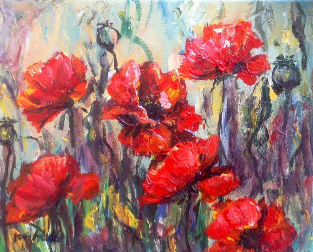 """Happy poppies"" original fine art by Sonia von Walter"