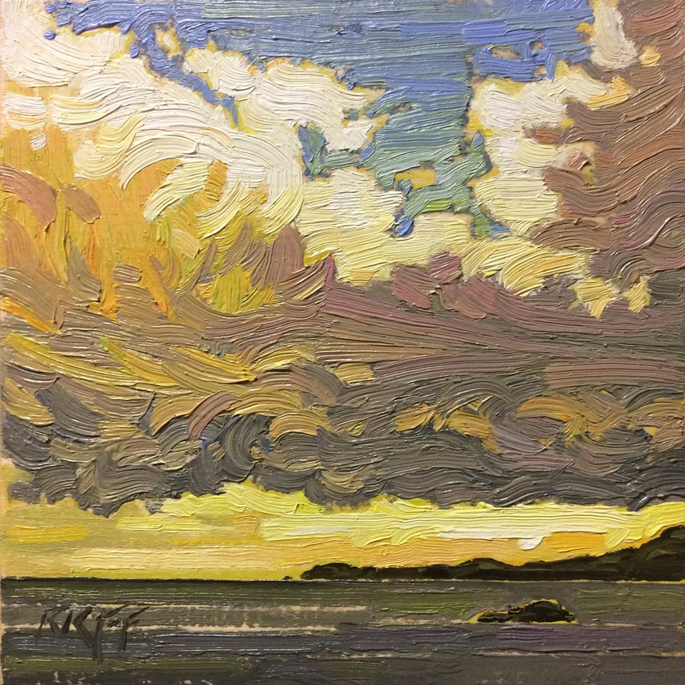 """Storm Break: 6x6 oil on panel"" original fine art by Ken Faulks"