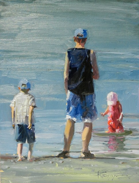 """""""Sunday at the Beach figurative, oil painting by Robin Weiss"""" original fine art by Robin Weiss"""