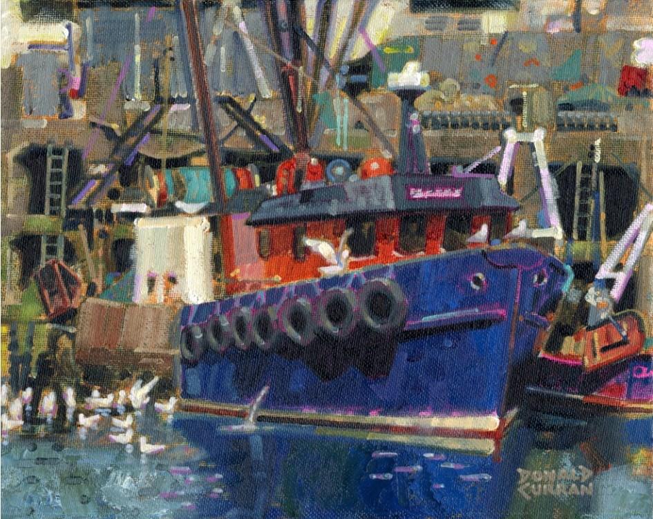"""Colorful Boat"" original fine art by Donald Curran"