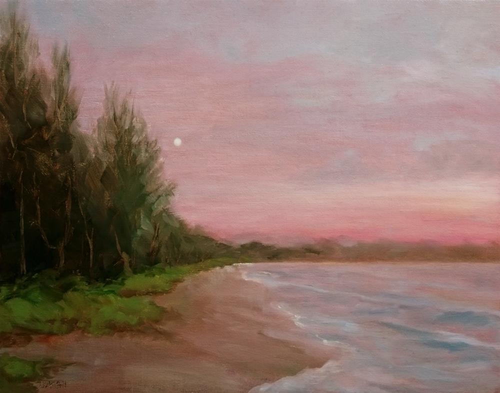 """Kailua Moon, Birthday back to posting paintings"" original fine art by Dalan Wells"