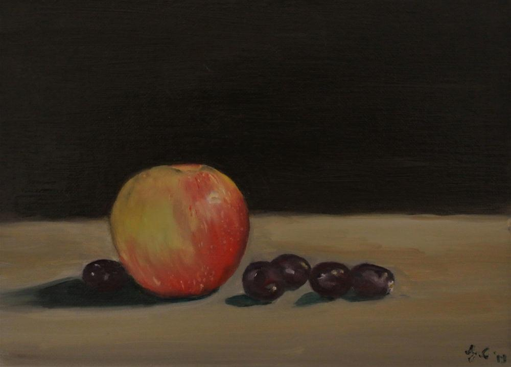 """Apple and Grapes"" original fine art by James Coates"