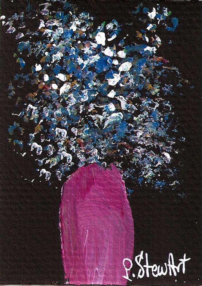 """ACEO Bluebells in a Pink Vase Floral Acrylic Painting, Original Art, OOAK"" original fine art by Penny Lee StewArt"