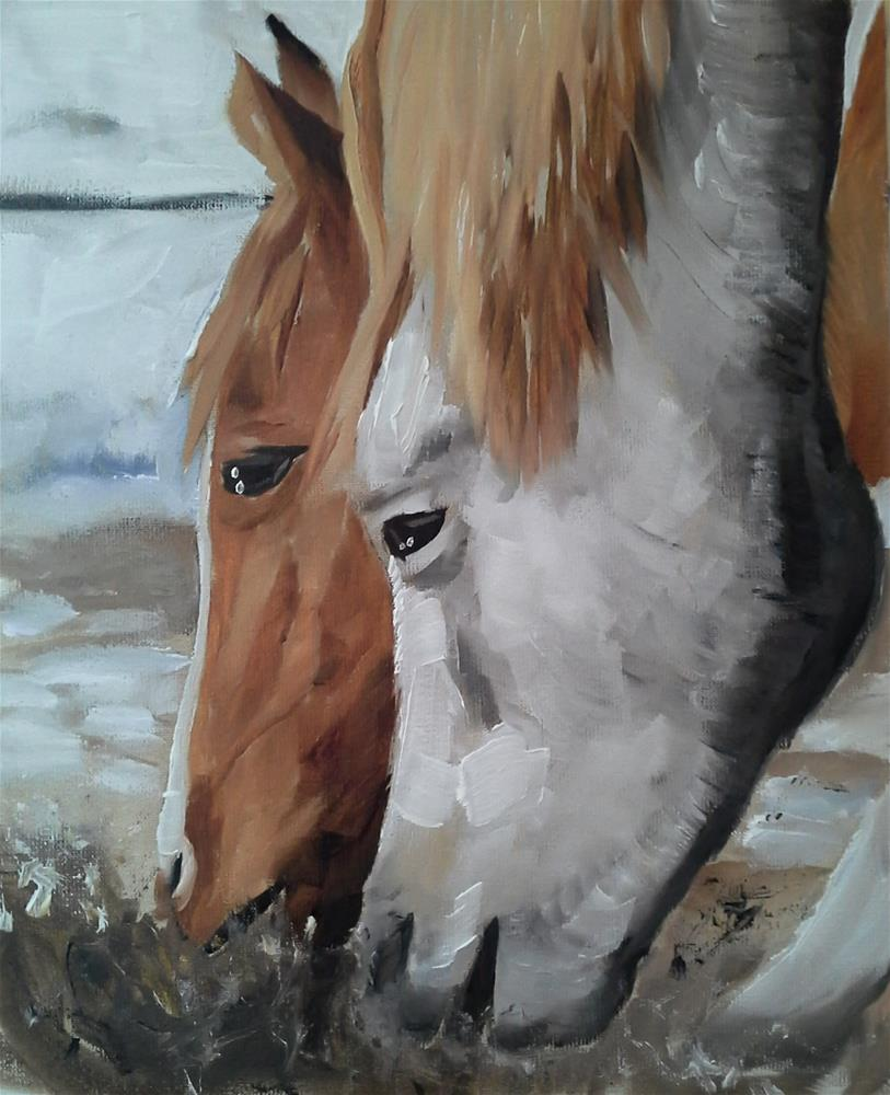 """Hungry Horses"" original fine art by James Coates"