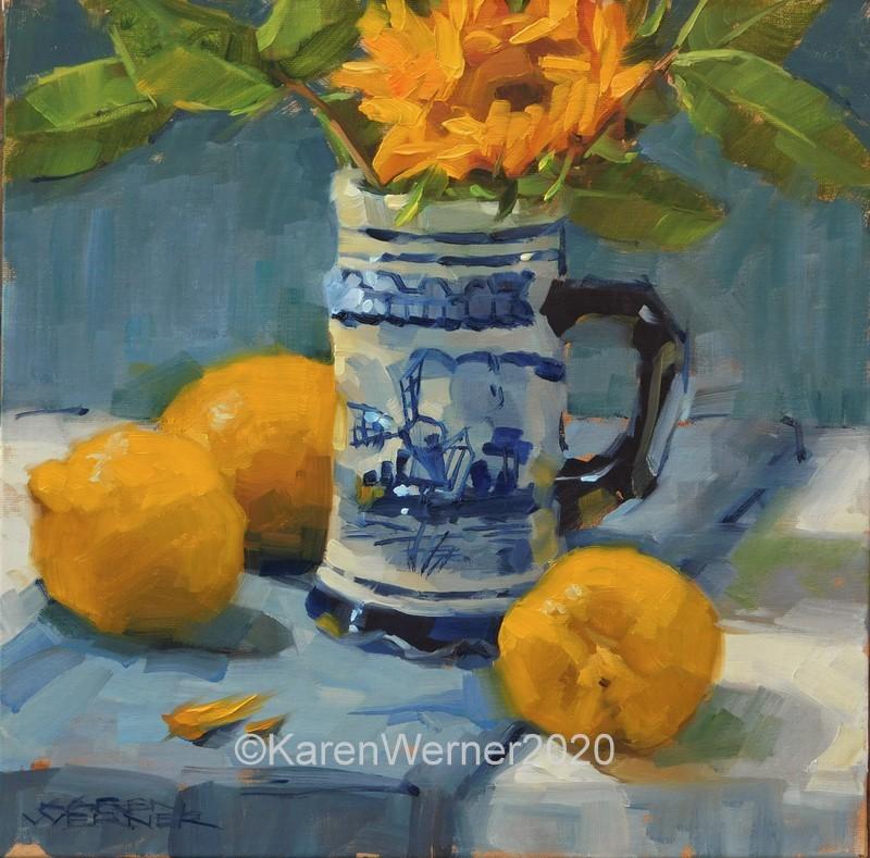 """Lumpy Lemons"" original fine art by Karen Werner"