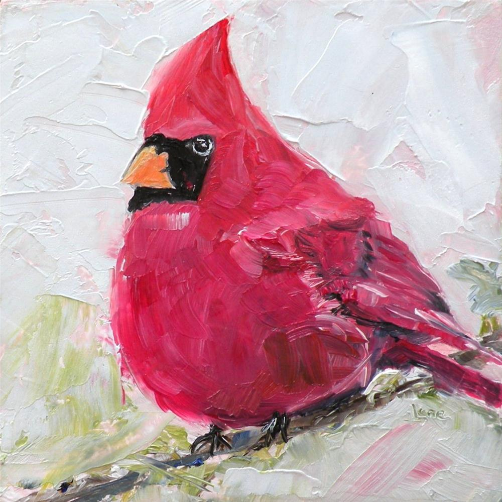 """CARDINAL ORIGINAL 4X4 OIL ON PANEL IN MY ETSY SHOP © SAUNDRA LANE GALLOWAY"" original fine art by Saundra Lane Galloway"