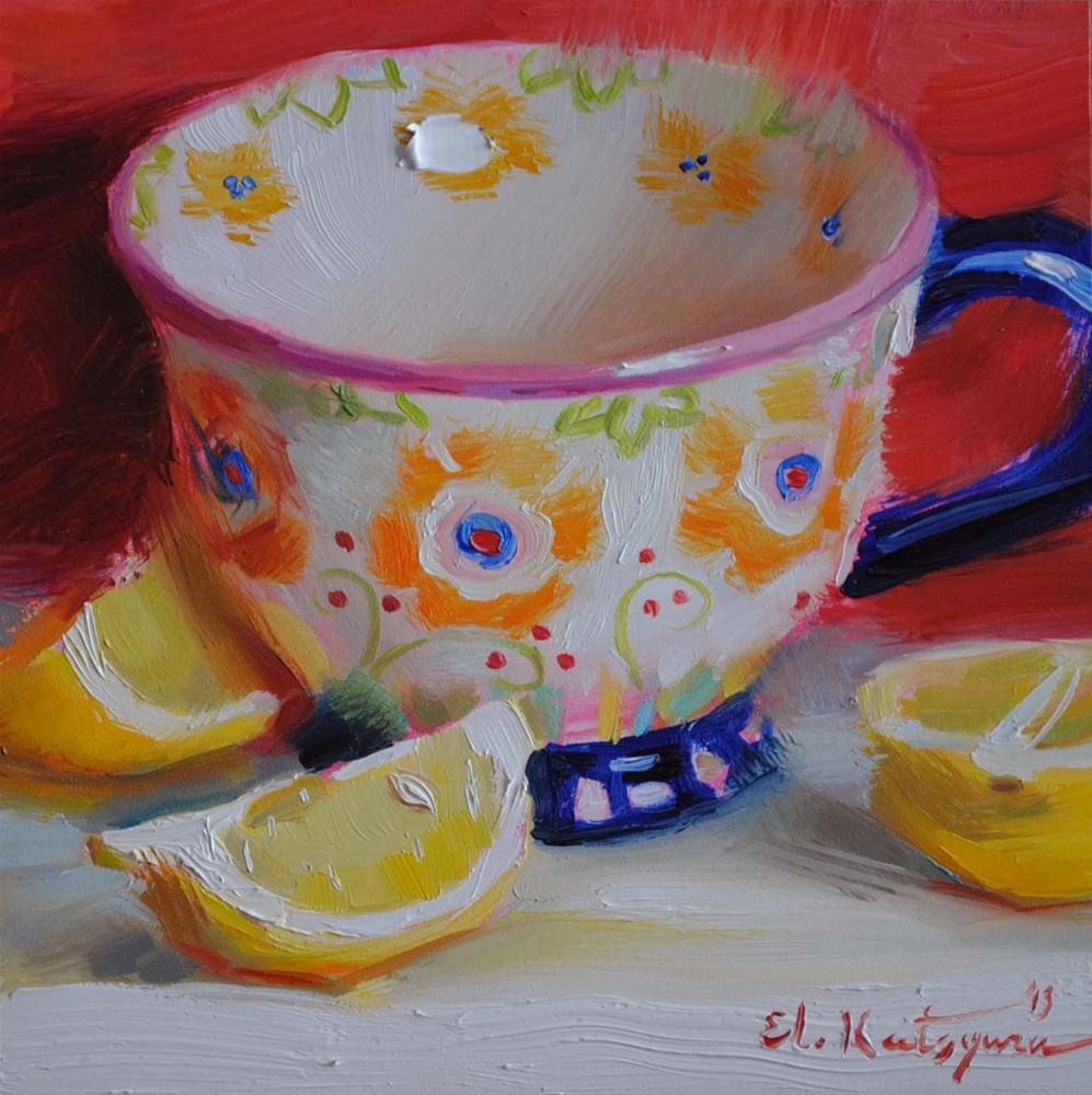 """Mug and Lemons"" original fine art by Elena Katsyura"