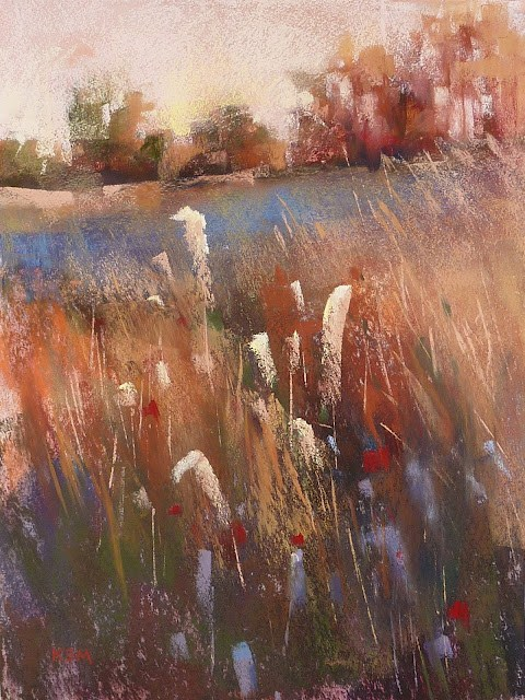 """Pastel demo of Marsh"" original fine art by Karen Margulis"