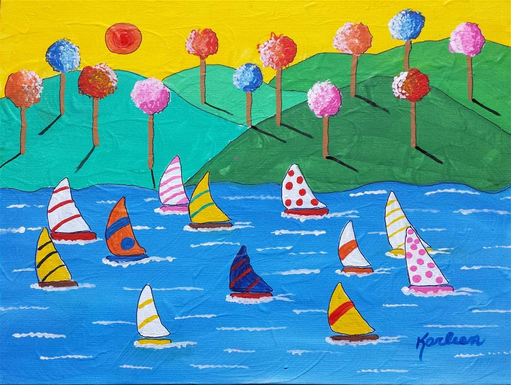 """Sailboats and Trees"" original fine art by Karleen Kareem"