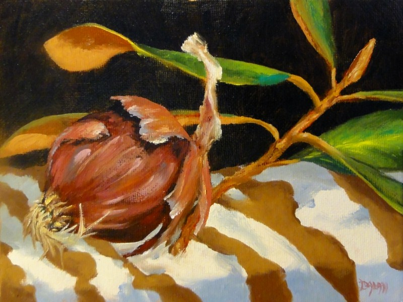 """""""Magnolia With Red Onion Stripes Challenge"""" original fine art by Dalan Wells"""