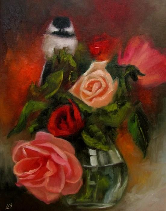 """""""Rose Bouquet with Chickadee"""" original fine art by ~ces~ Christine E. S. Code"""
