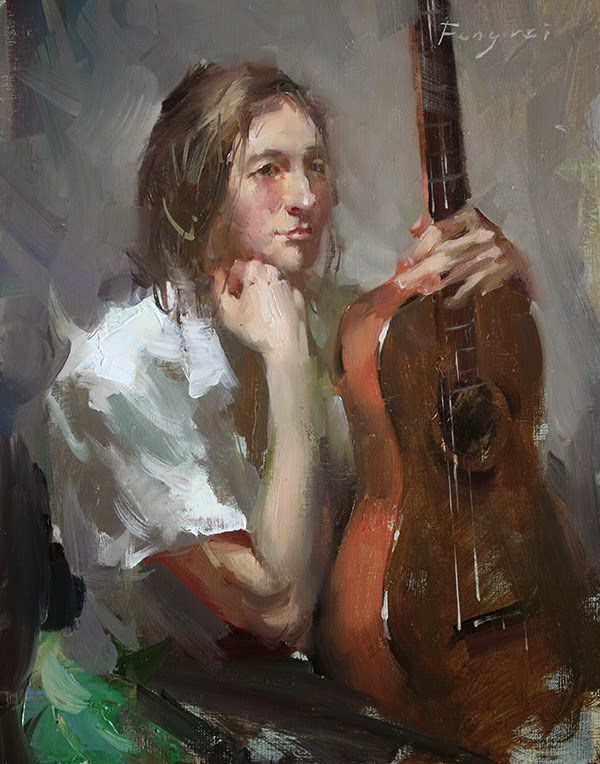 """Guitar Girl 2"" original fine art by Fongwei Liu"