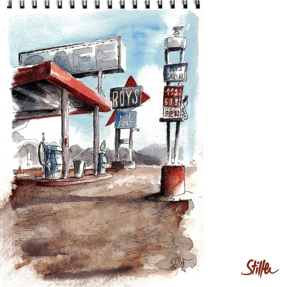 """3476 Route 66 (Roy's Motel Cafe)"" original fine art by Dietmar Stiller"