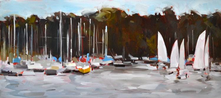"""Sailling Club"" original fine art by Jessica Green"