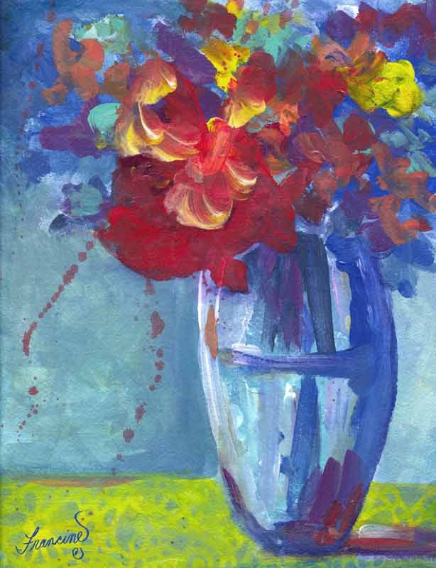"""Blue Tango Flowers"" original fine art by Francine Dufour~Jones"