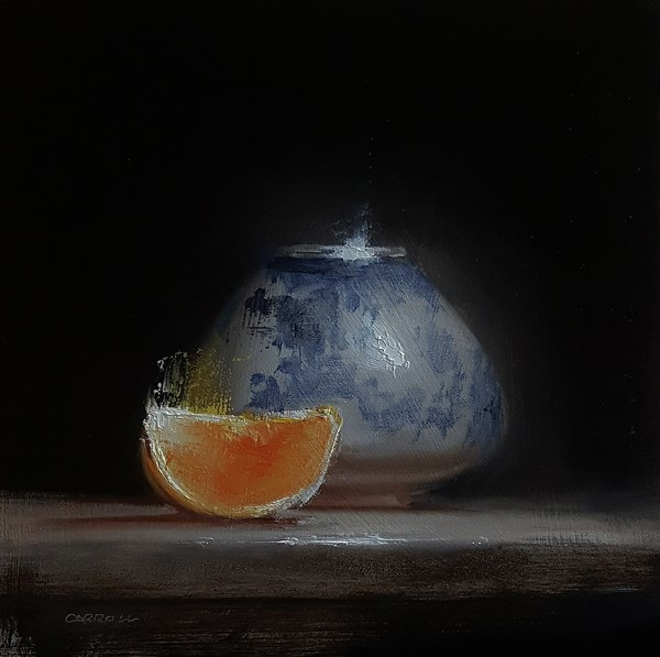 """Orange with Upturned Vase"" original fine art by Neil Carroll"