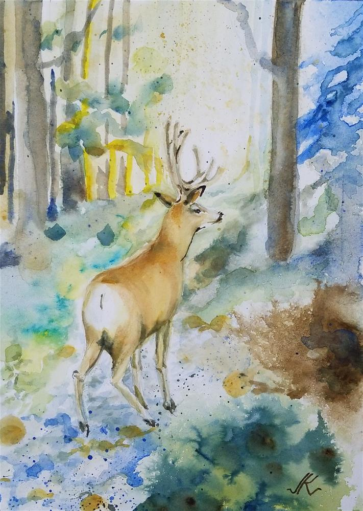"""4 Point Buck"" original fine art by Jean Krueger"