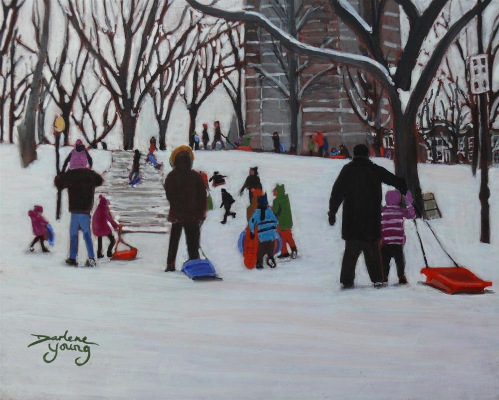 """1151 Parc LaFontaine Fun, 8x10, egg tempera"" original fine art by Darlene Young"