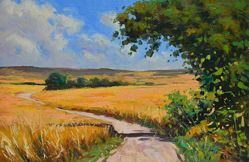 """Wheat field - Champagne Rural France - French countyside scene."" original fine art by Nick Sarazan"