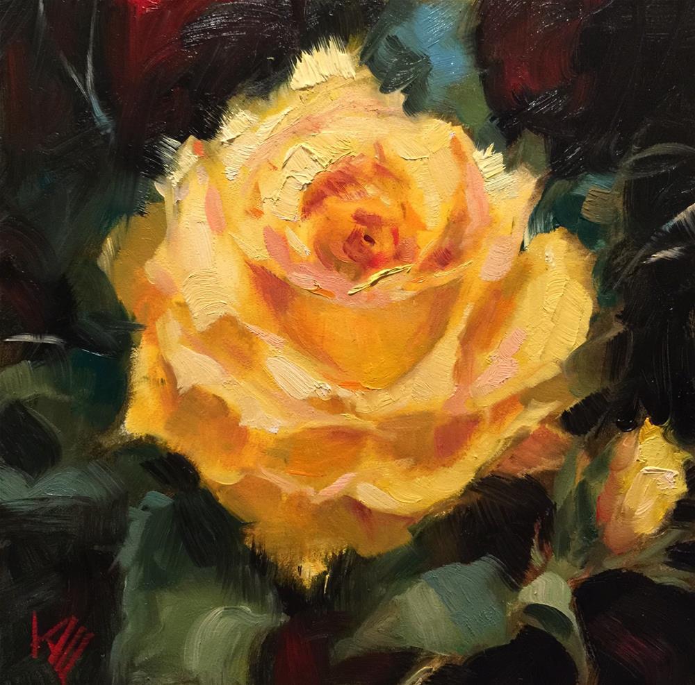 """Yellow Rose"" original fine art by Krista Eaton"