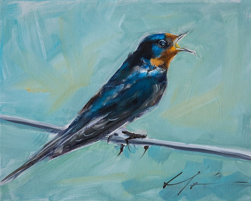 """Singing Swallow"" original fine art by Clair Hartmann"
