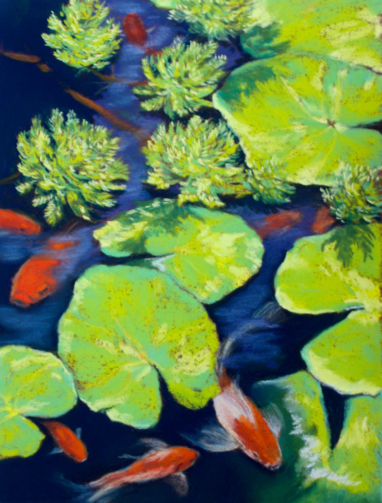 """Playing Koi"" original fine art by Jill Bates"