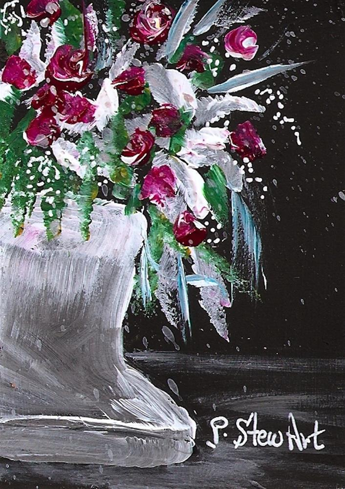 """ACEO Acrylic Baby Rose Buds in White Vase Painterly style, Original Art"" original fine art by Penny Lee StewArt"