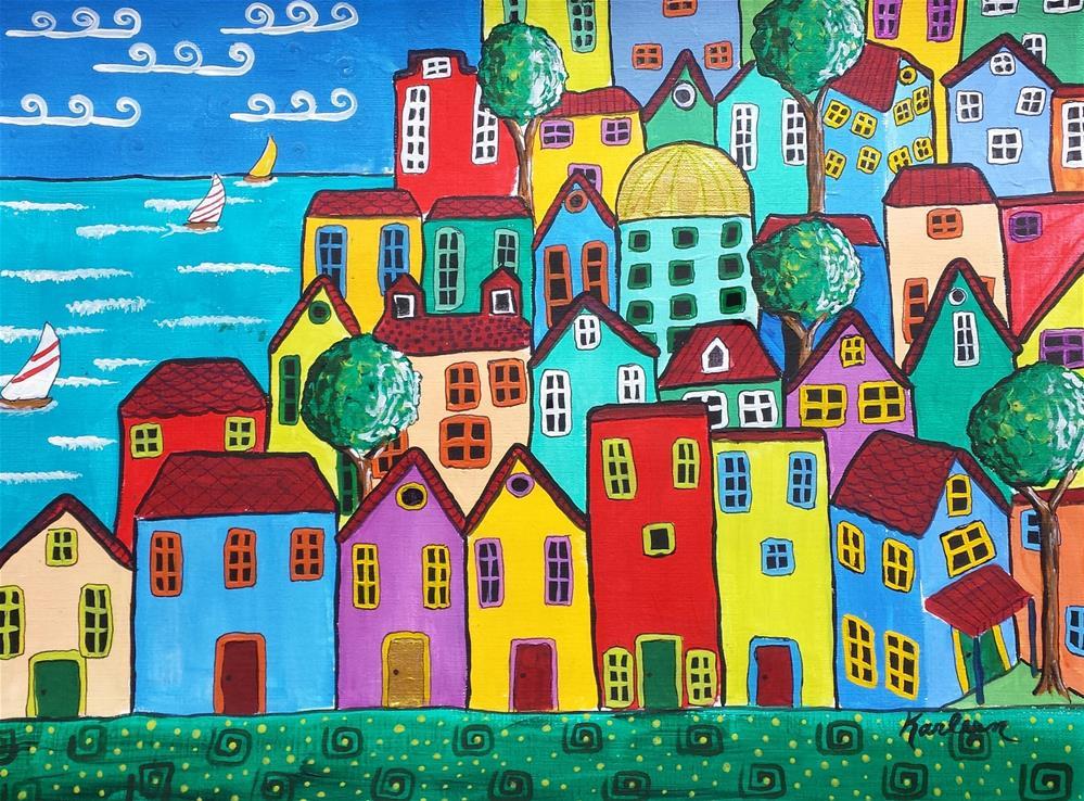 """Seaside Community"" original fine art by Karleen Kareem"