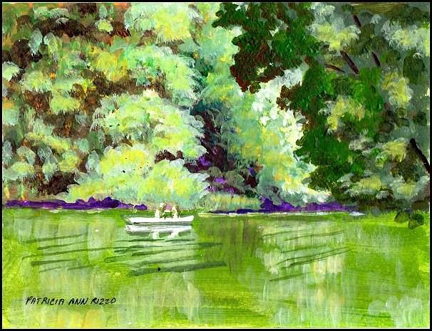 """Boating on the Lake"" original fine art by Patricia Ann Rizzo"