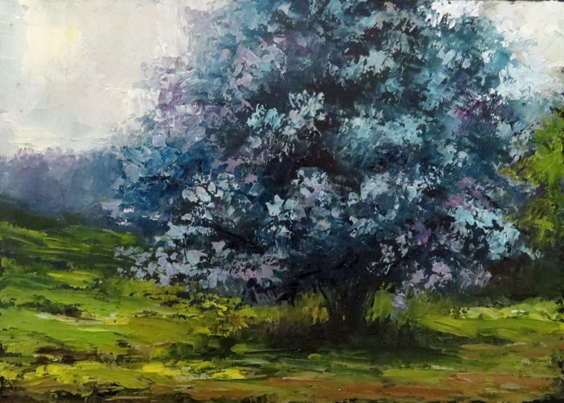 """A Blue Tree in the Prairie"" original fine art by Bob Kimball"