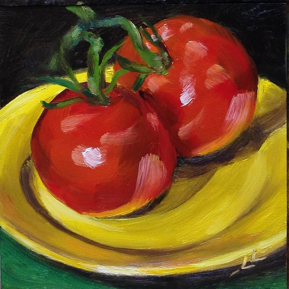 """""""Tomatoes on a Yellow Plate"""" original fine art by Linda Lowery"""