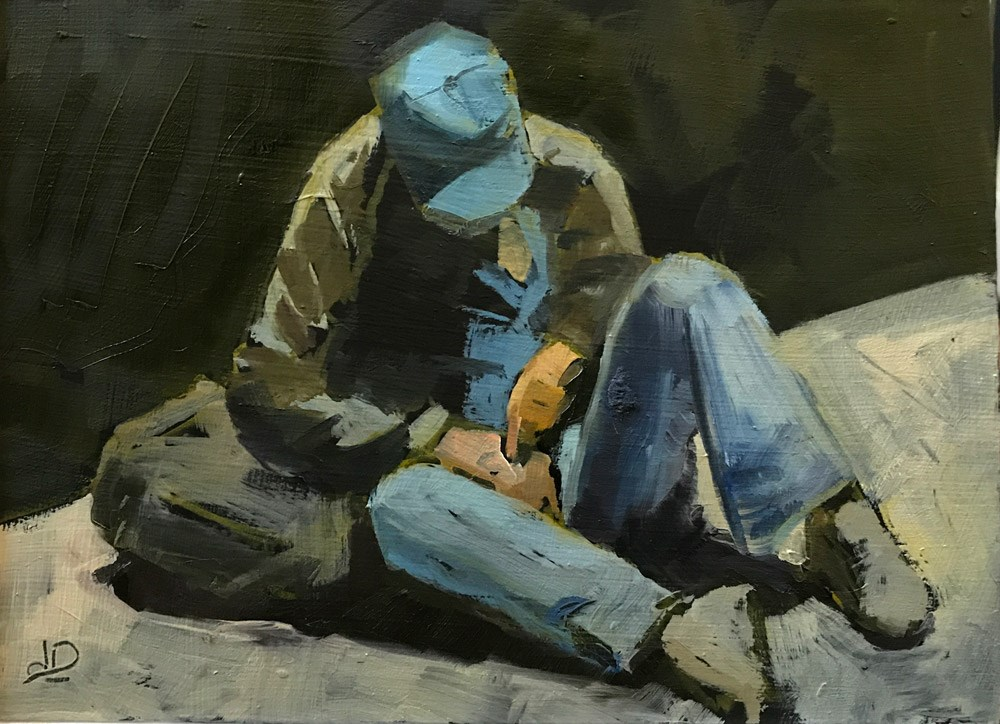 """""""Homeless Man with Blue Hat"""" original fine art by Donna Dumont"""