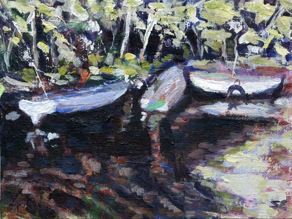 """""""Three Boats"""" original fine art by Stanley Epperson"""